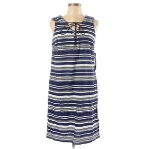 Leslie Fay Navy & White Stripe Lace Up Shift Dress